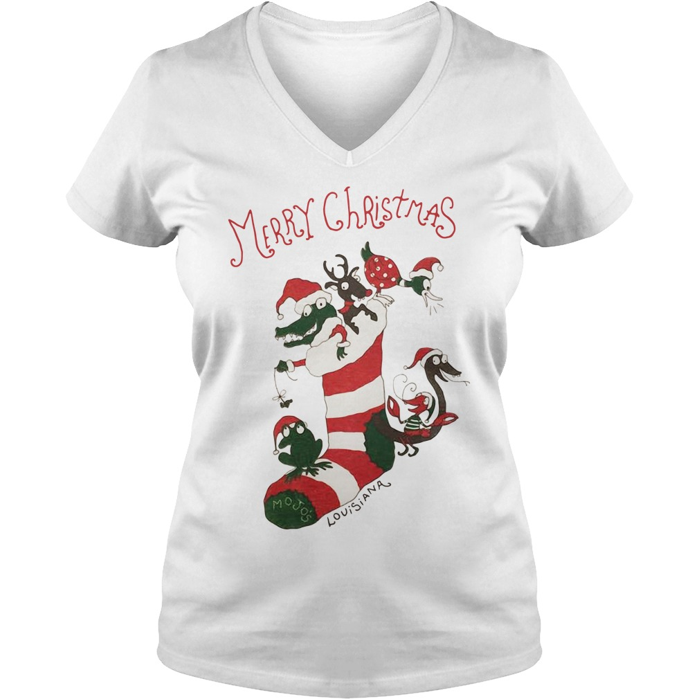 Merry Christmas Mojos socks and animal Santa hat V-neck T-shirt
