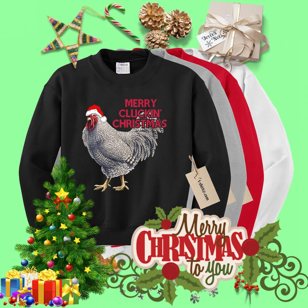 Merry Clucking Santa hat Christmas shirt, sweater
