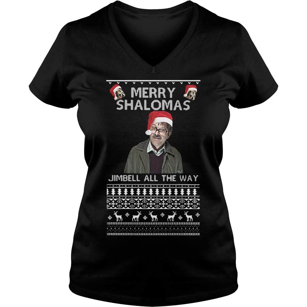 Merry Shalomas Jimbell all the way ugly V-neck T-shirt