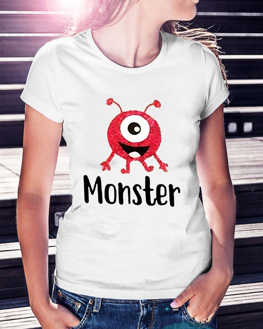 Monster pink with one eye Ladies Tee