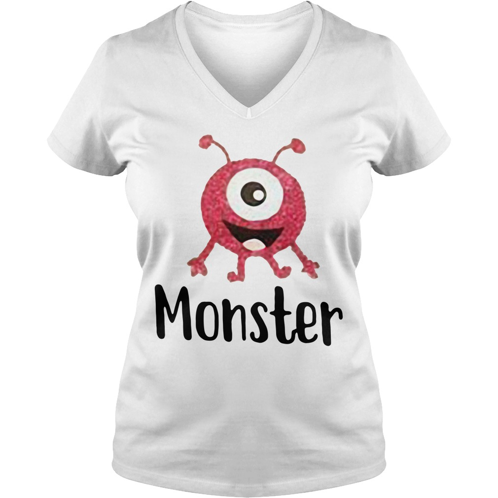 Monster pink with one eye V-neck T-shirt