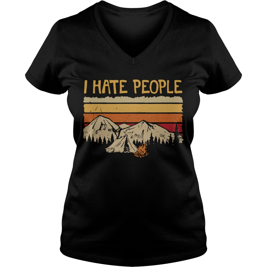 Mountain camping I hate people V-neck T-shirt