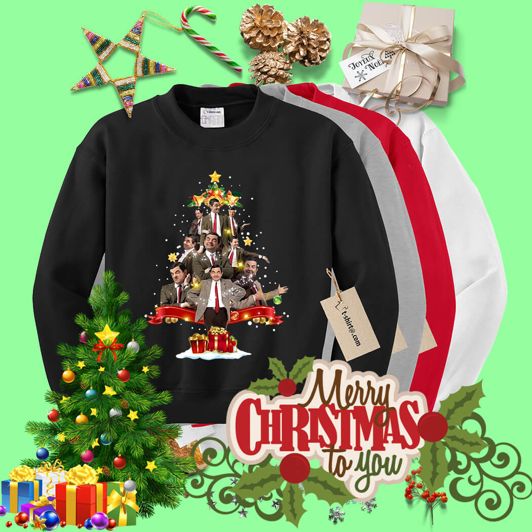 Mr Bean Christmas.Mr Bean Christmas Tree Shirt Sweater Hoodie And Longsleeve Tee