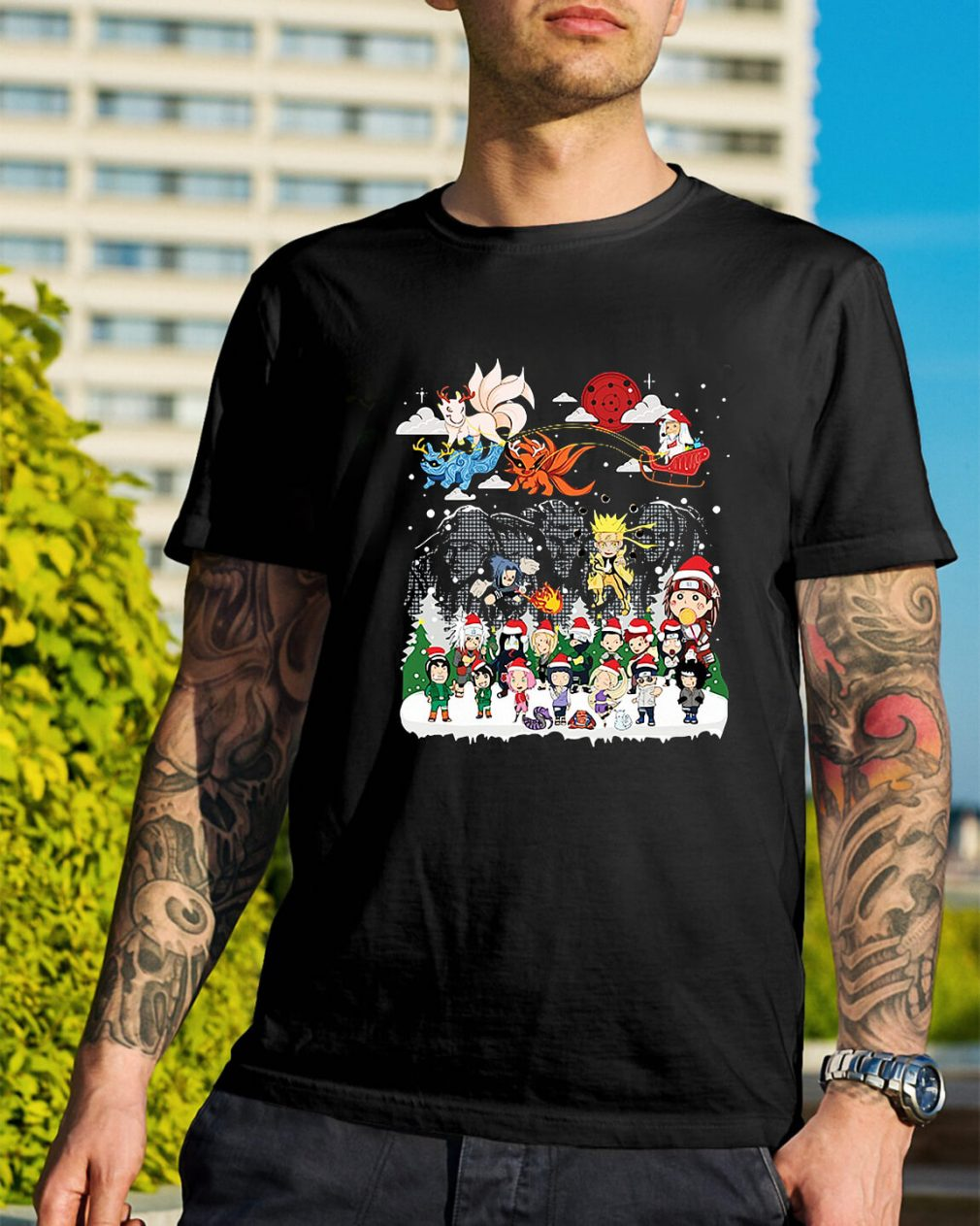Naruto character Santa Christmas Guys Shirt