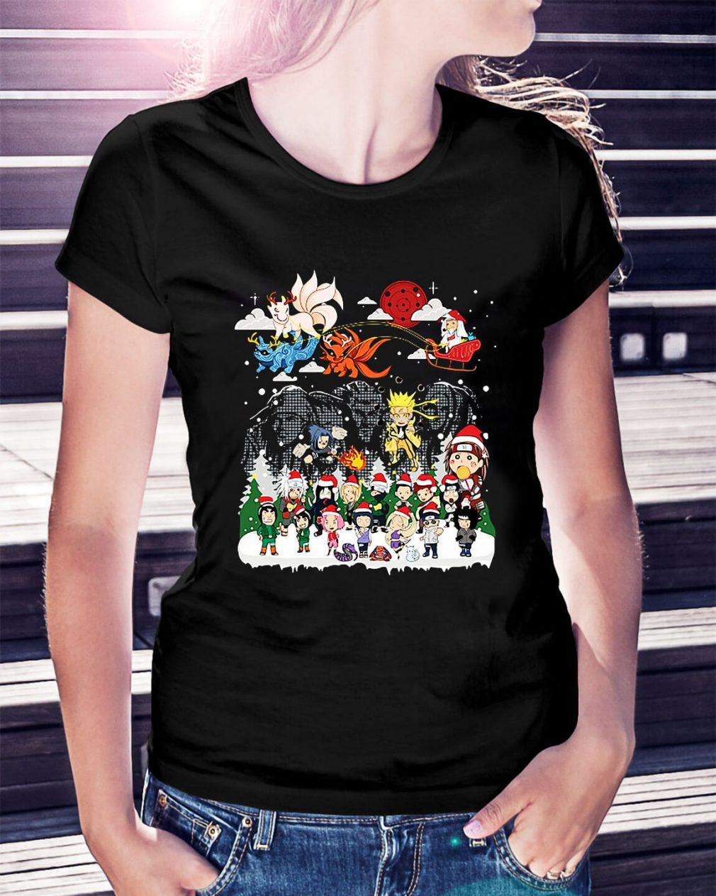 Naruto character Santa Christmas Ladies Tee