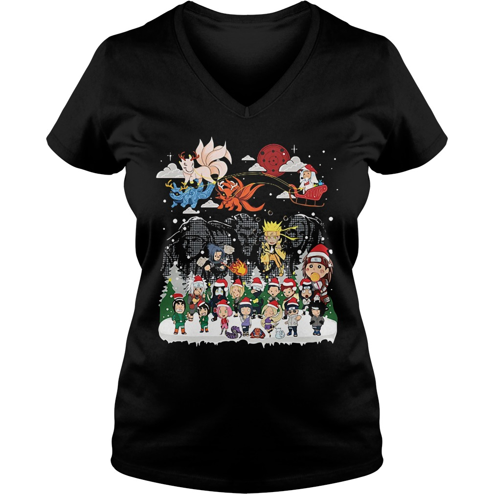 Naruto character Santa Christmas V-neck T-shirt