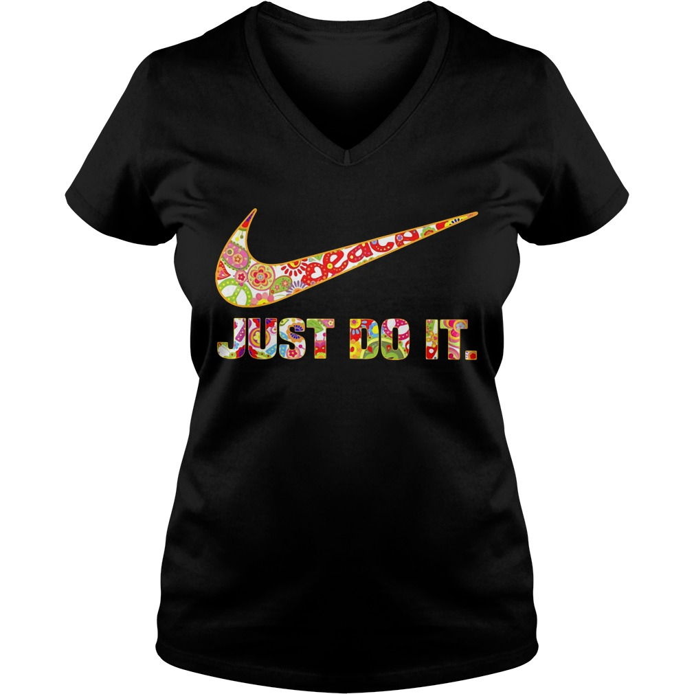 Nike Just do it floral V-neck T-shirt