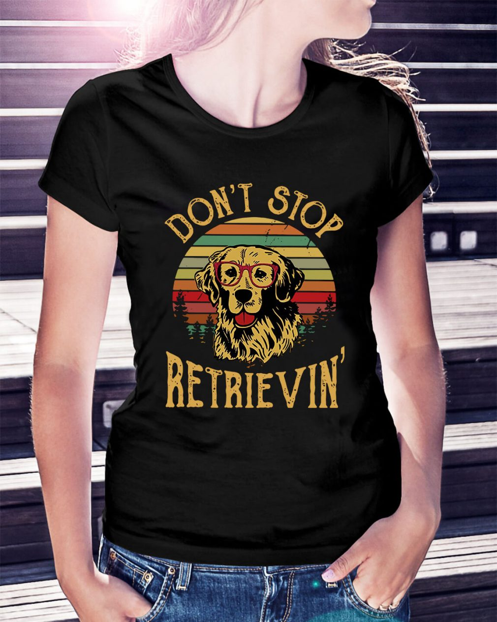 Official Sunset don't stop retrievin Ladies Tee
