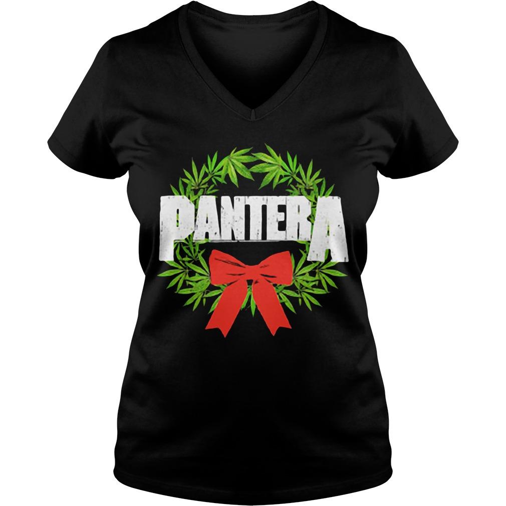 Pantera weed Christmas V-neck T-shirt