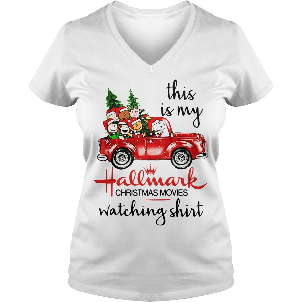 Peanuts Snoopy this is my Hallmark christmas V-neck T-shirt