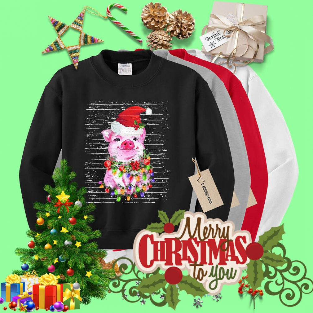 Pig Santa's red Christmas light shirt, sweater