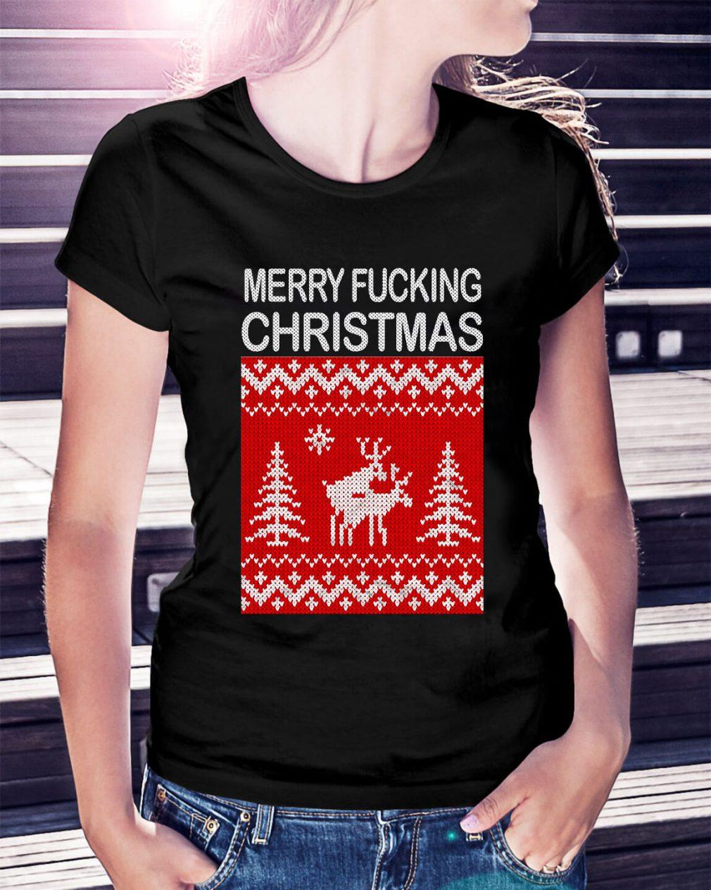 Reindeer merry fucking Christmas Ladies Tee