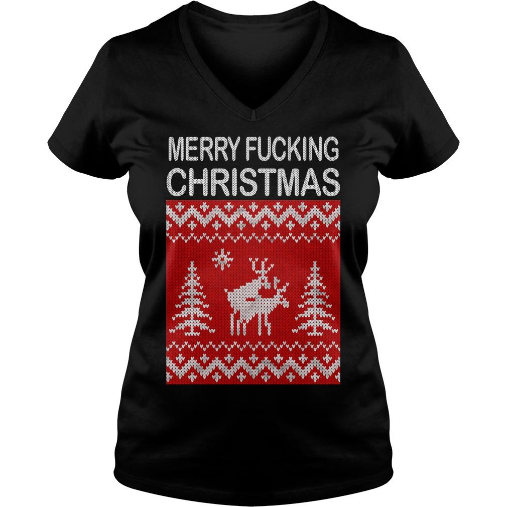 Reindeer merry fucking Christmas V-neck T-shirt
