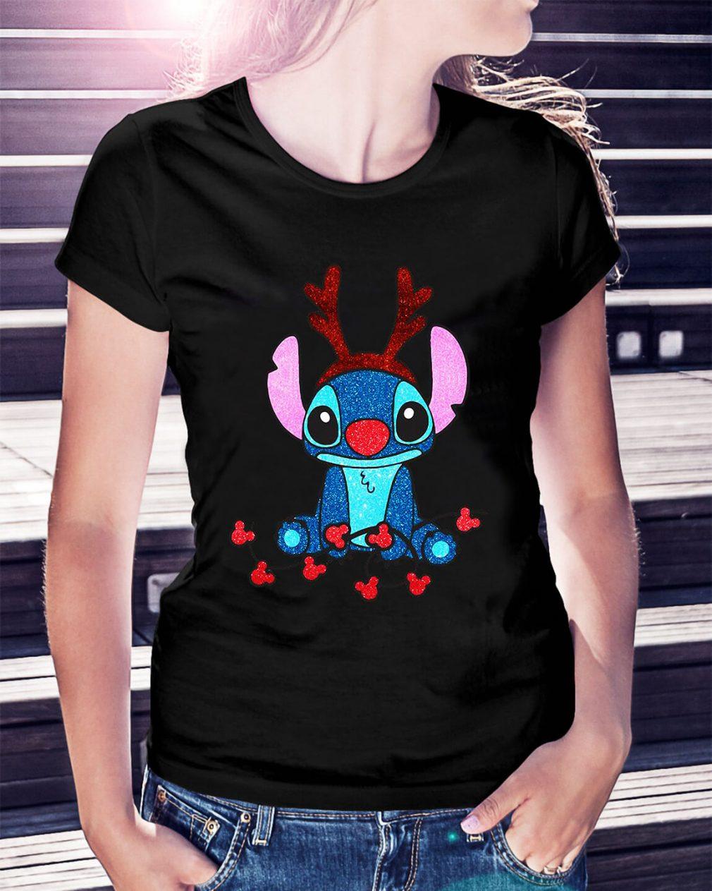 Reindeer Stitch Merry Christmas Ladies Tee
