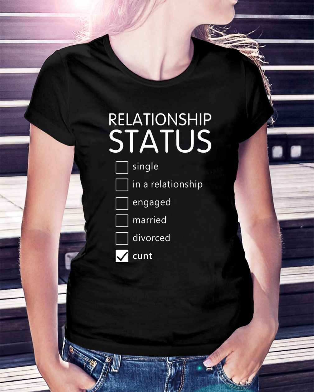 Relationship status single in a relationship engaged married Ladies Tee