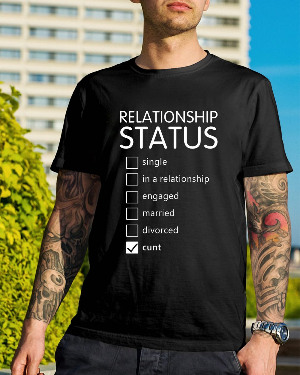 Relationship status single in a relationship engaged married shirt