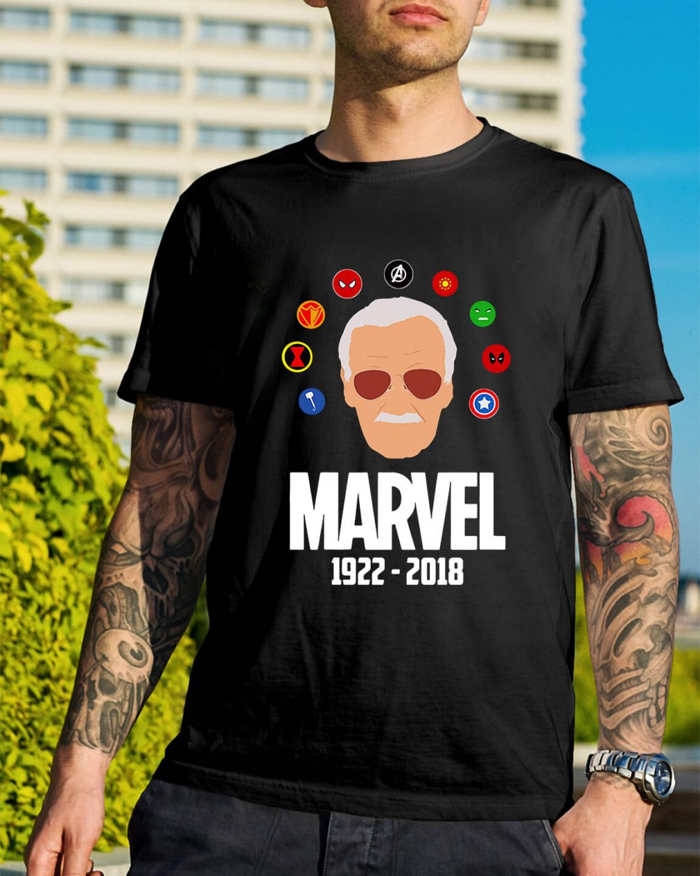 Rip Stan Lee 1922 - 2018 with all Marvel Hero shirt
