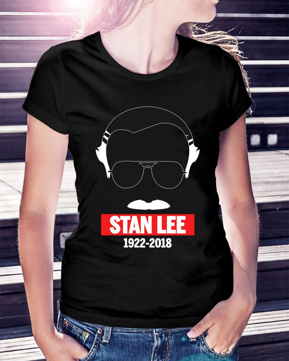 Rip Stan Lee in white 1922-2018 Ladies Tee