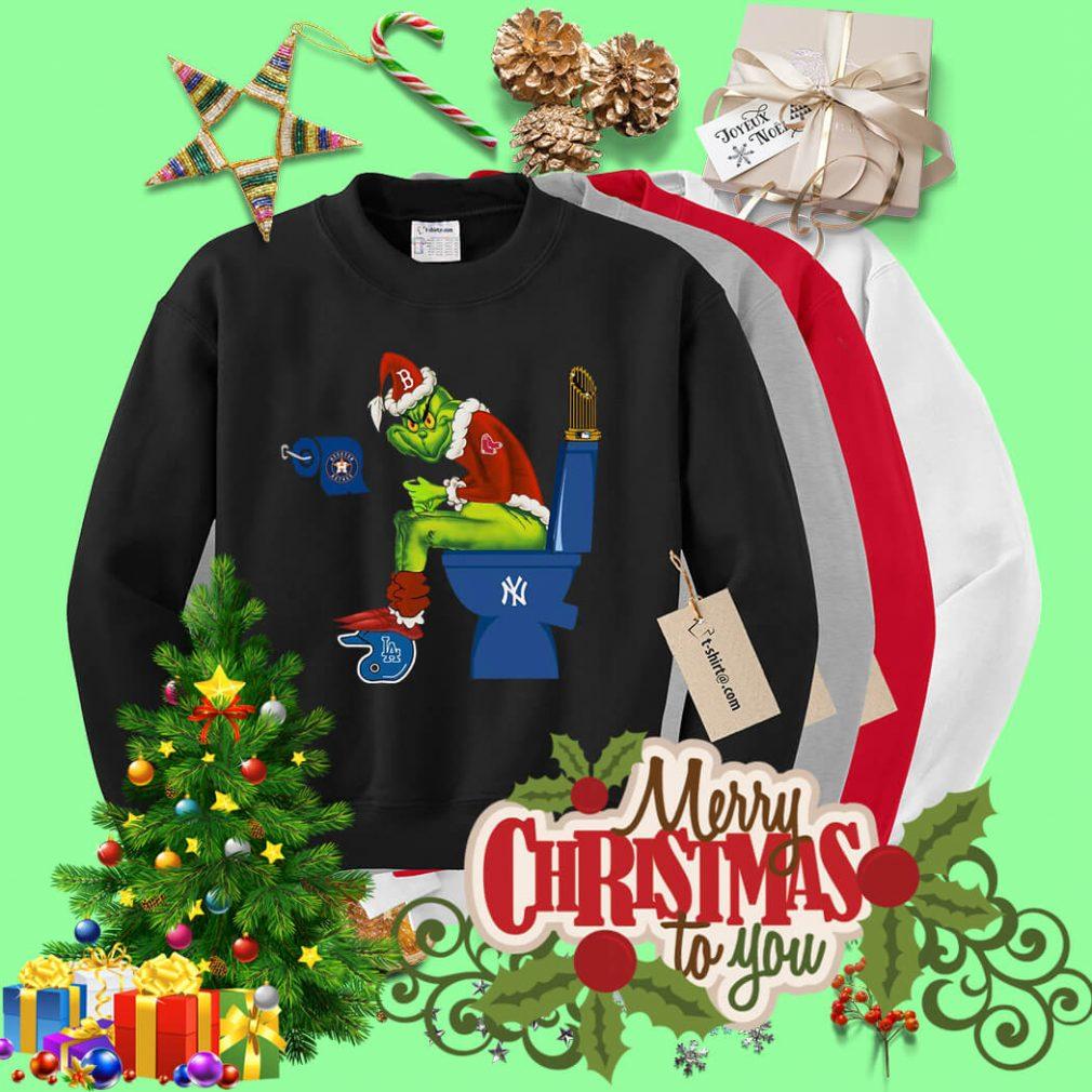 Santa Grinch Boston Red Sox toilet Christmas shirt, sweater