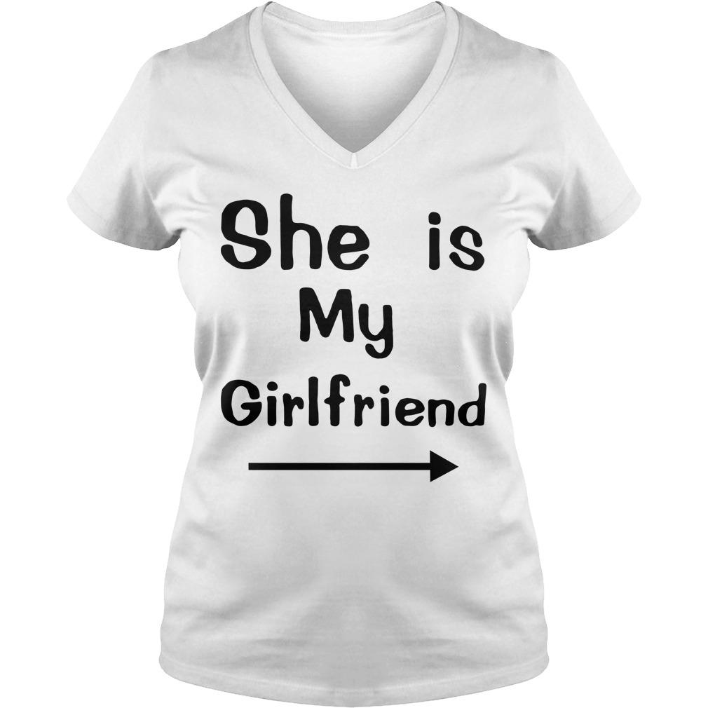 She is my girlfriend V-neck T-shirt