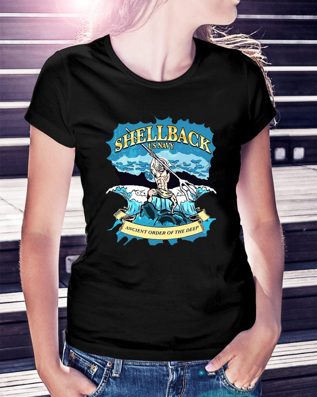 Shellback US Navy Ancient order of the deep Ladies Tee