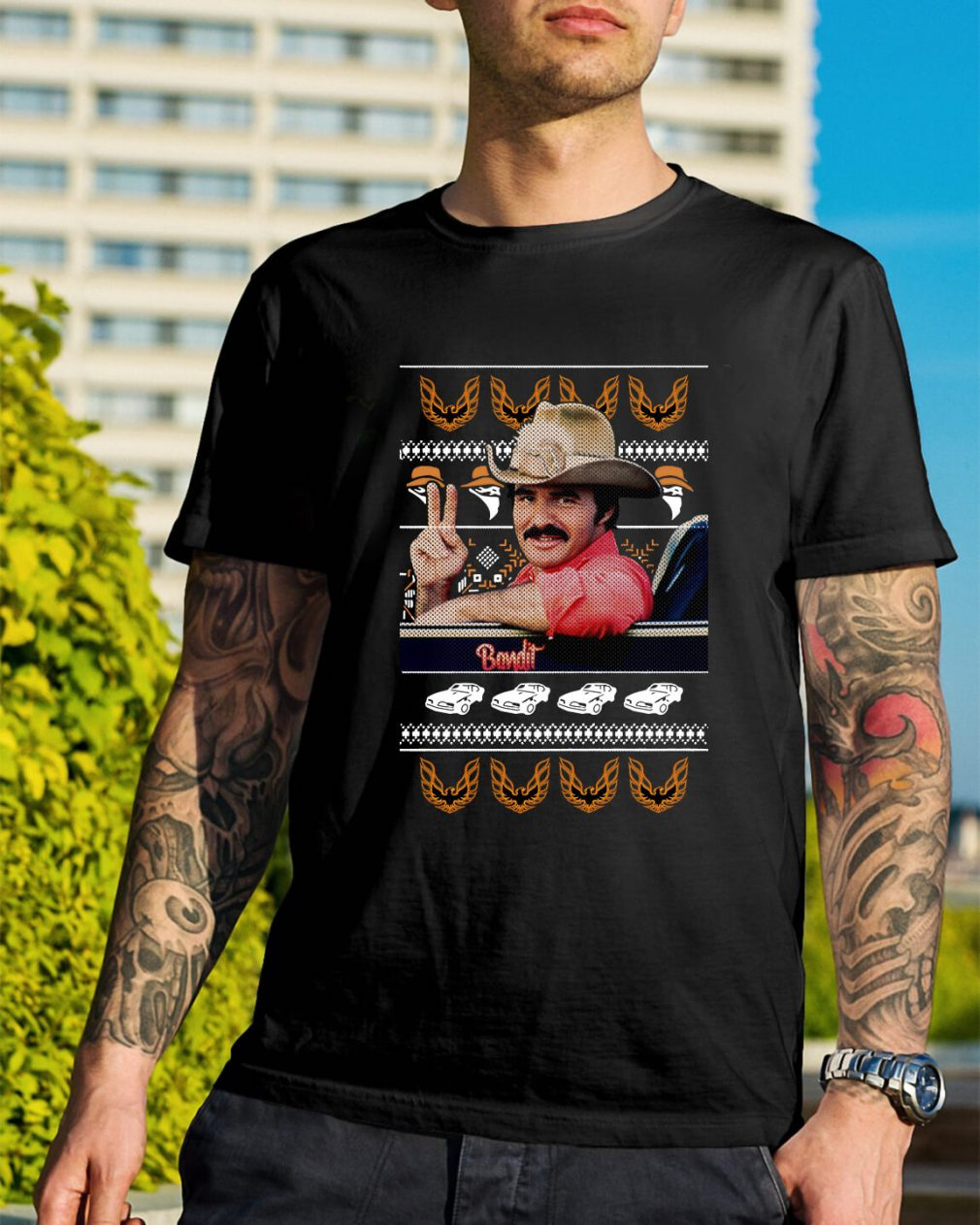 Smokey and the Bandit knitting pattern all over print Guys Shirt
