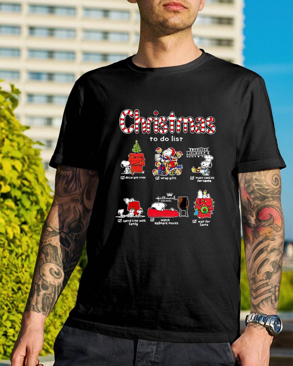Snoopy Christmas to do list Hallmark channel Guys Shirt