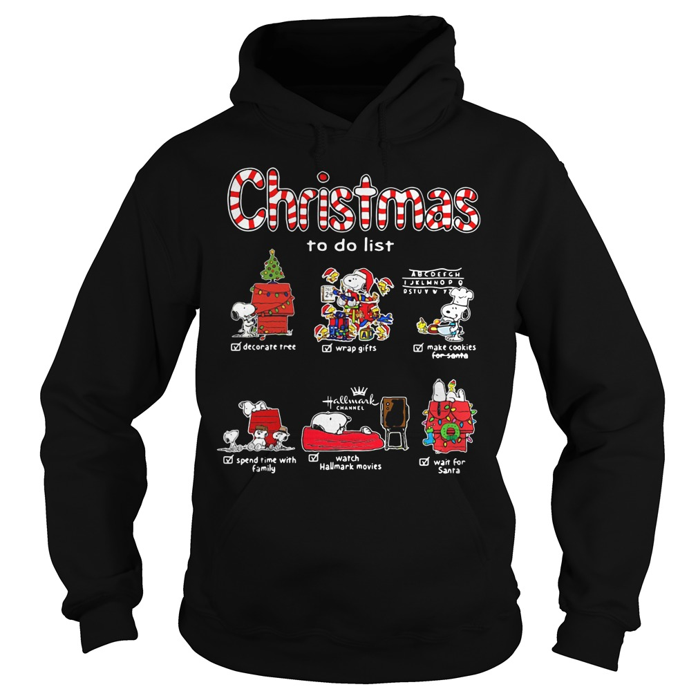 Snoopy Christmas to do list Hallmark channel Hoodie