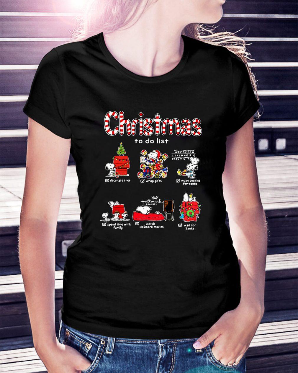Snoopy Christmas to do list Hallmark channel Ladies Tee