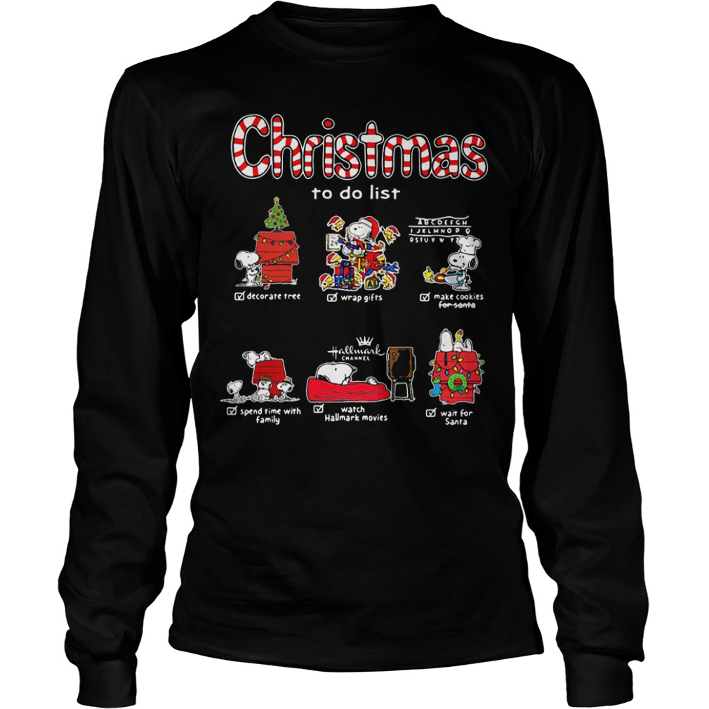 Snoopy Christmas to do list Hallmark channel Longsleeve Tee