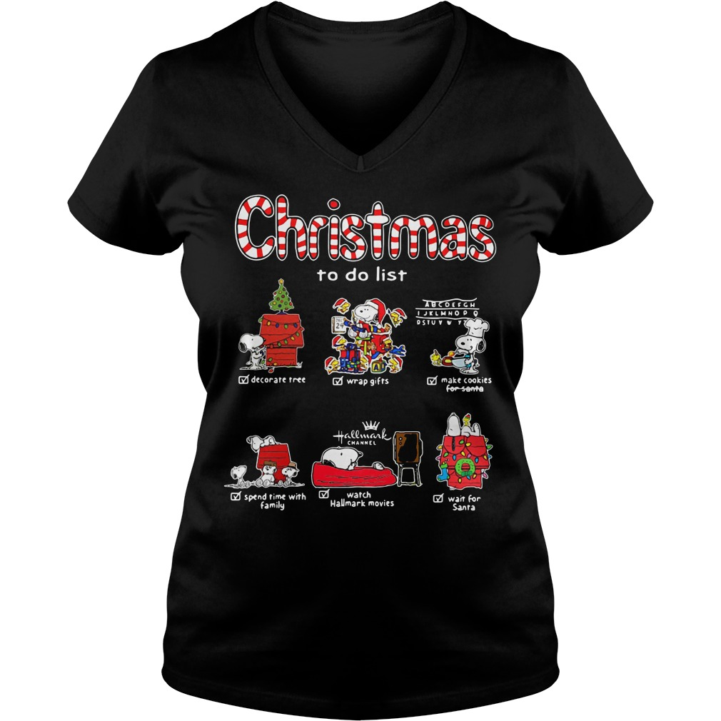 Snoopy Christmas to do list Hallmark channel V-neck T-shirt