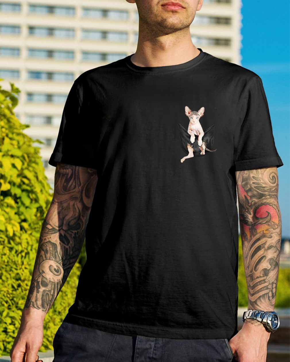 Sphynx cat breast pocket shirt