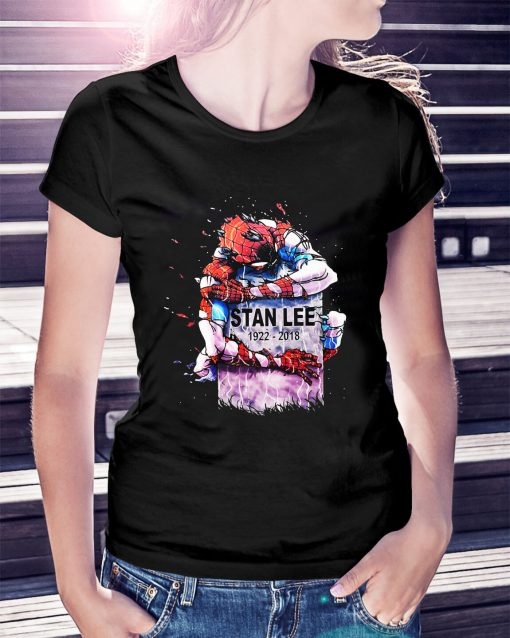 Spider-Man hug Stan Lee's grave 1922-2018 Ladies Tee