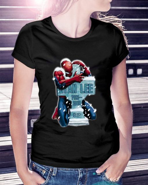 Spiderman hug grave Stan Lee 1922-2018 rip Ladies Tee