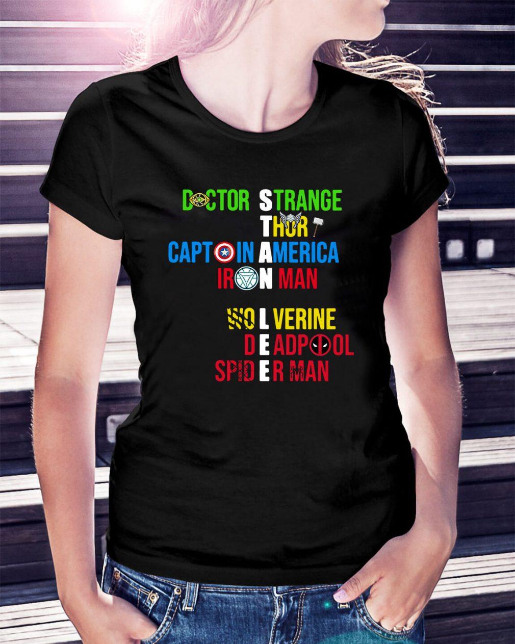 Stan Lee Doctor Strange Thor Captain America Iron Man Wolverine Ladies Tee