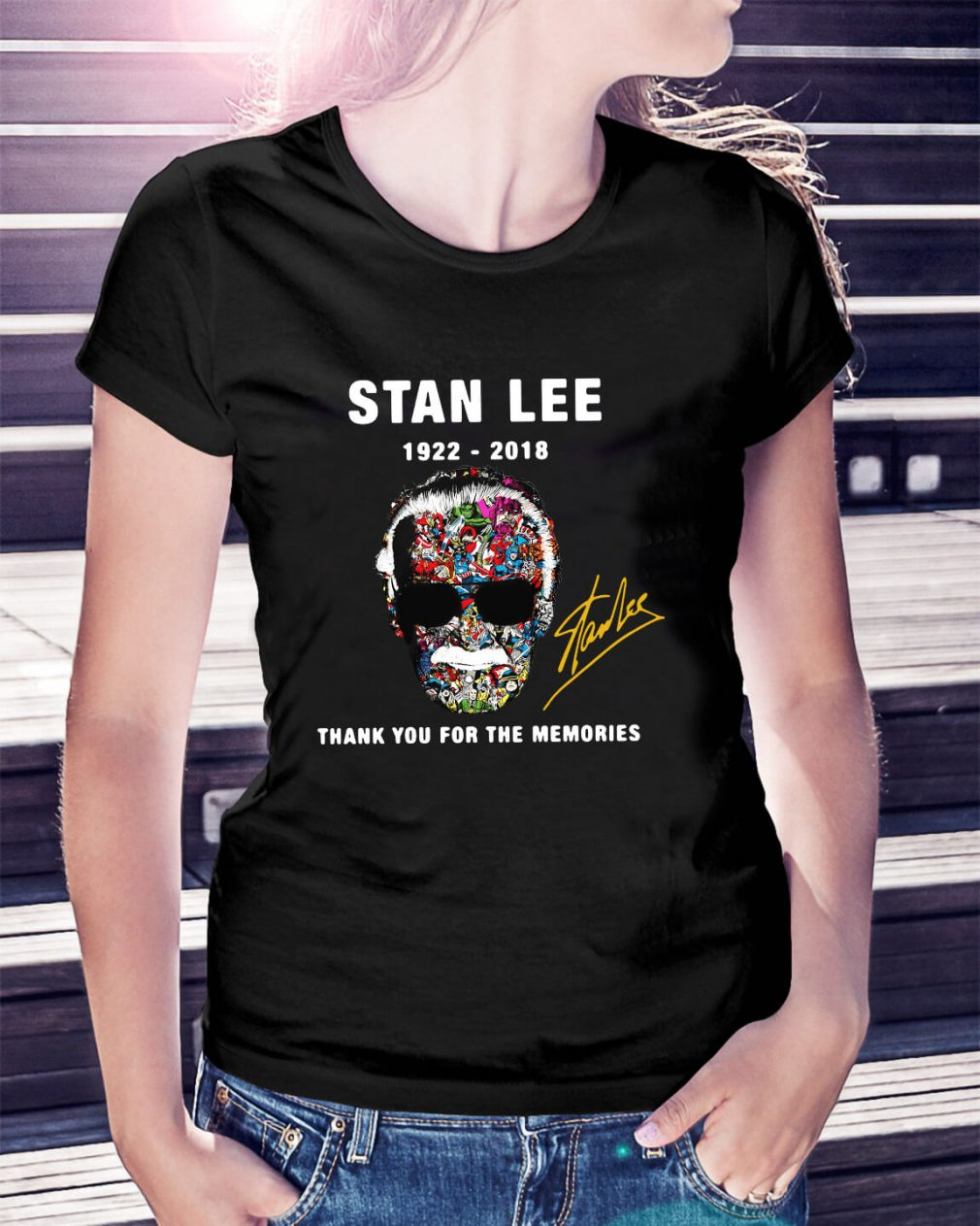 Stan Lee face Marvel 1922 – 2018 thank you for the memories Ladies Tee