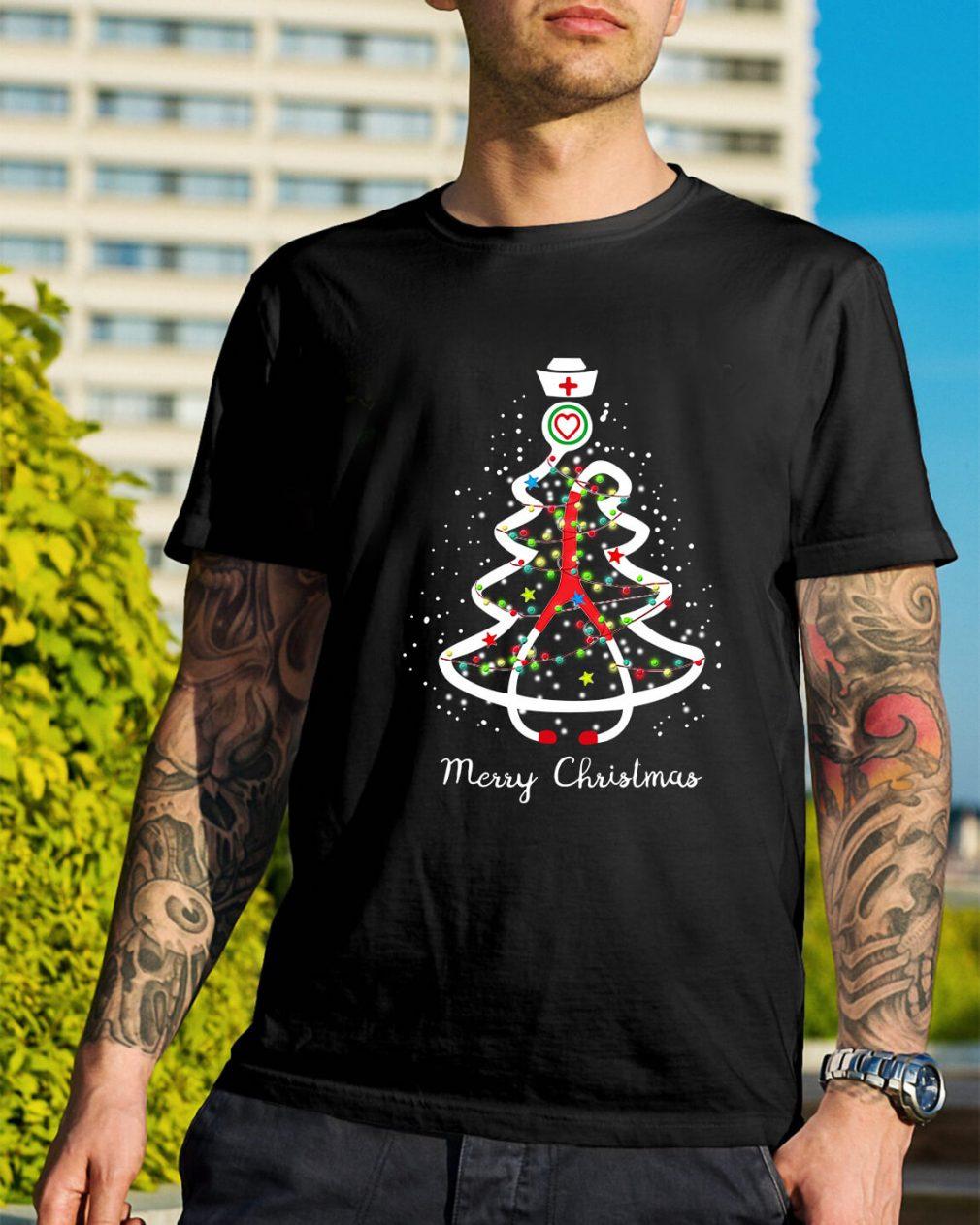 Stethoscope Christmas tree Merry Christmas nurse Guys Shirt