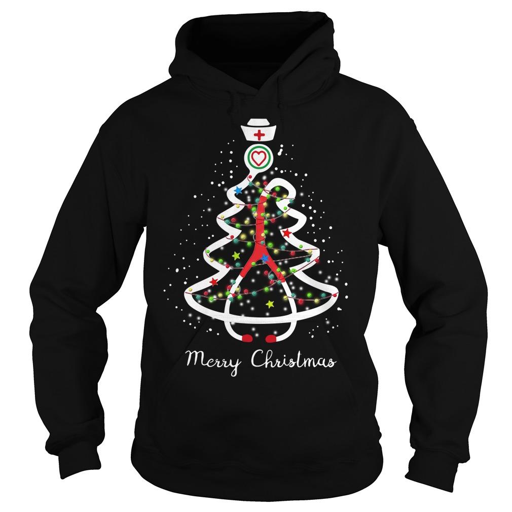 Stethoscope Christmas tree Merry Christmas nurse Hoodie