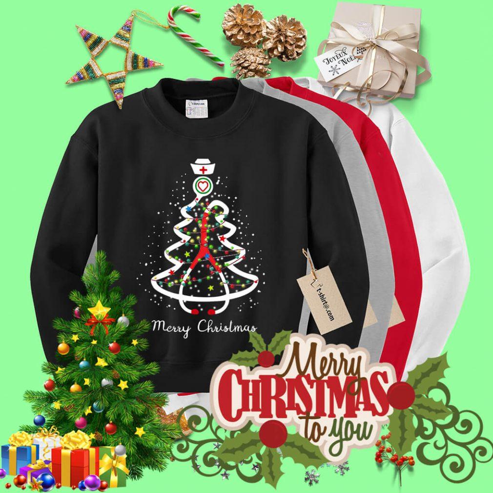 Stethoscope Christmas tree Merry Christmas nurse shirt, sweater