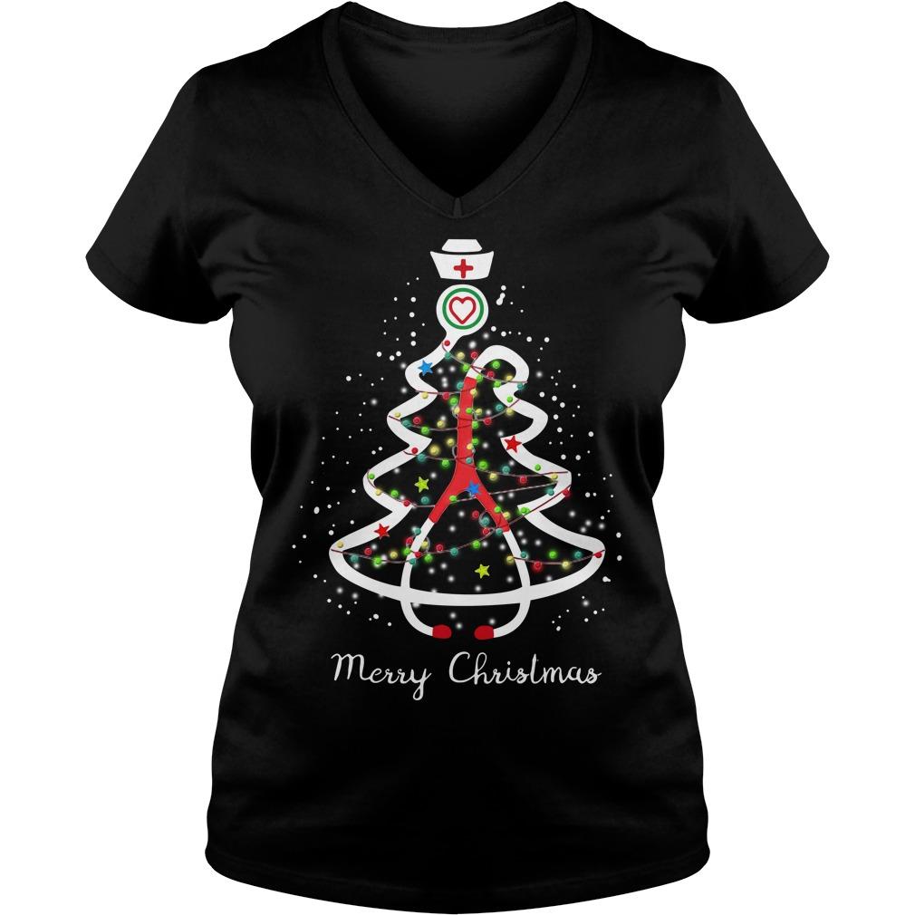 Stethoscope Christmas tree Merry Christmas nurse V-neck T-shirt