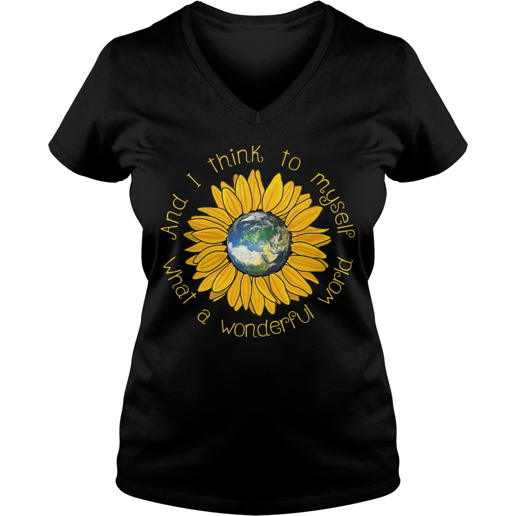 Sunflower what a wonderful world and I think to myself V-neck T-shirt