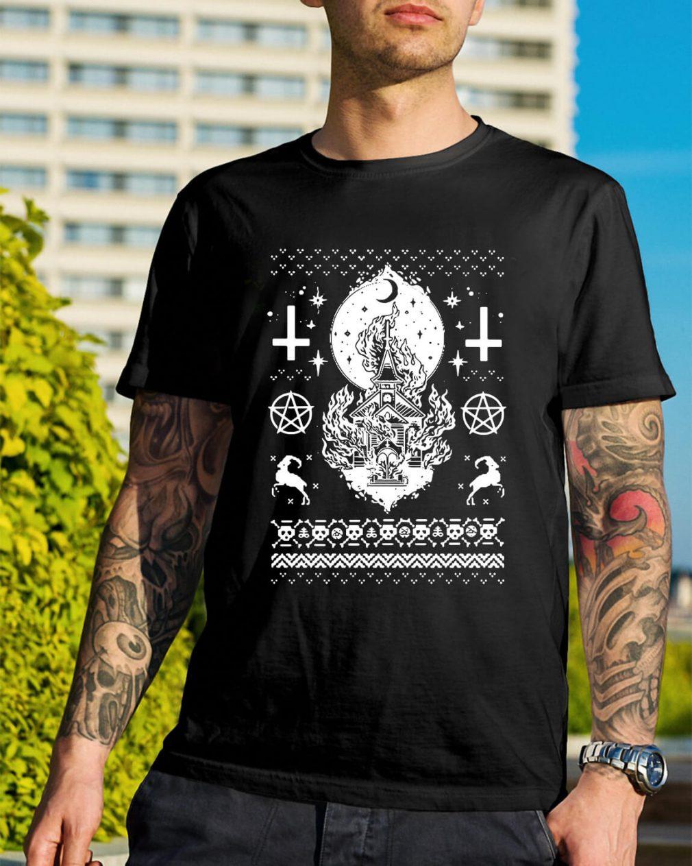 Synagogue burning church Christmas ugly Guys Shirt