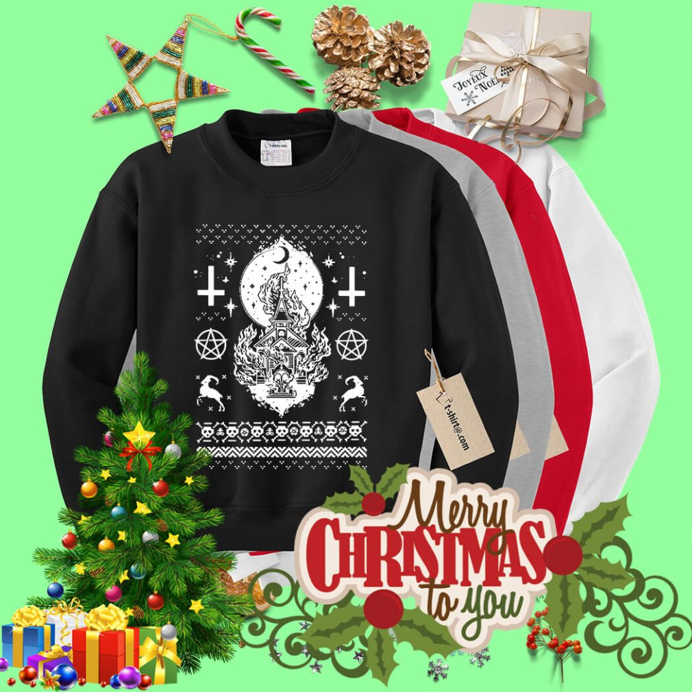 Synagogue burning church Christmas ugly sweater
