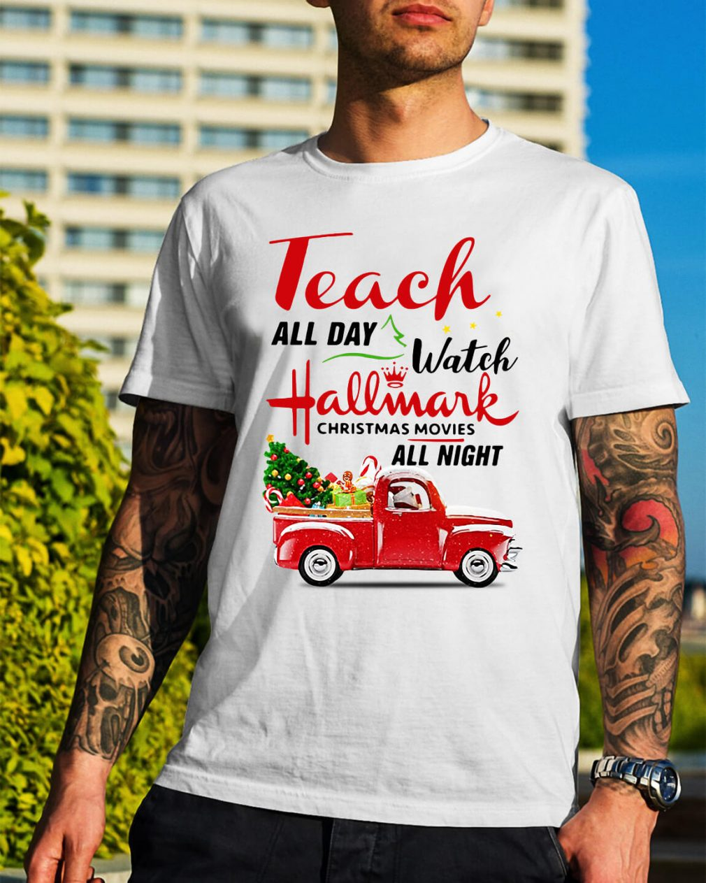 Teach all day watch Hallmark Christmas movies all night Guys Shirt