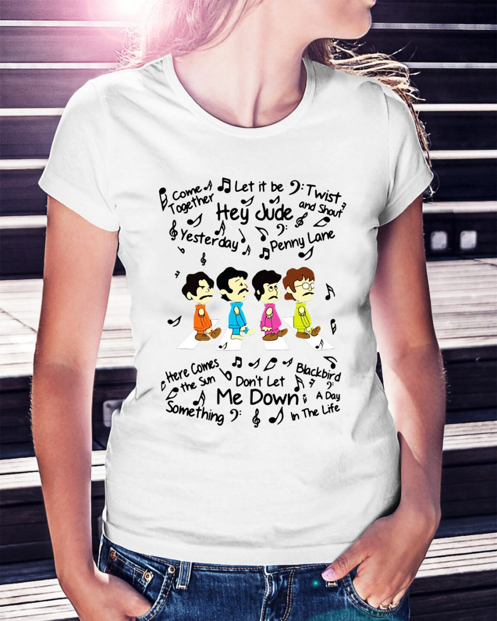The Beatles come together let it be twist and shout Ladies Tee