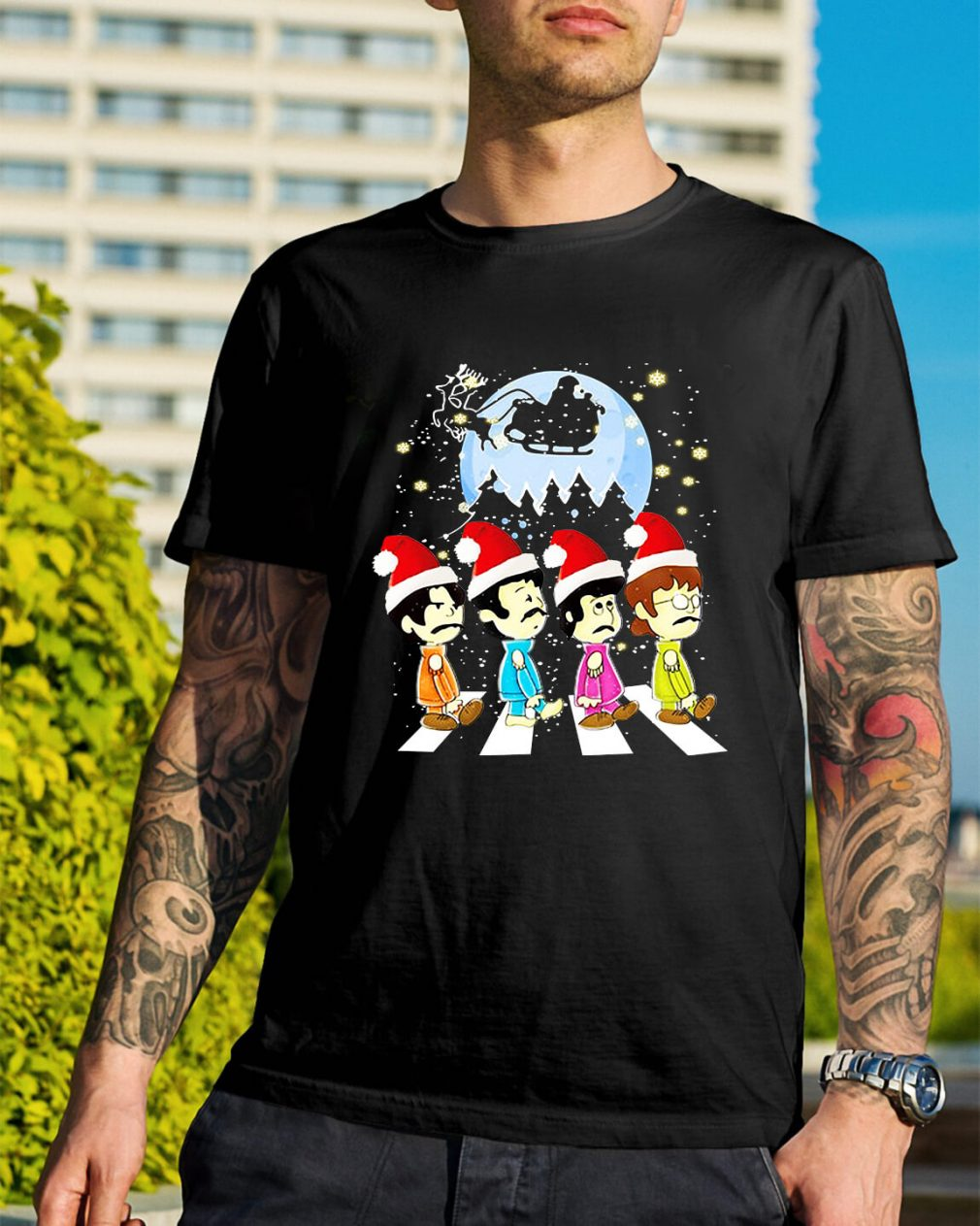 The Beatles crossing street Christmas Guys Shirt