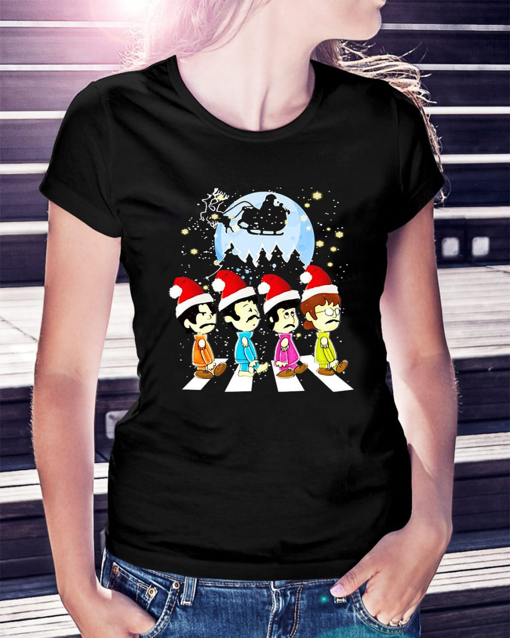 The Beatles crossing street Christmas Ladies Tee