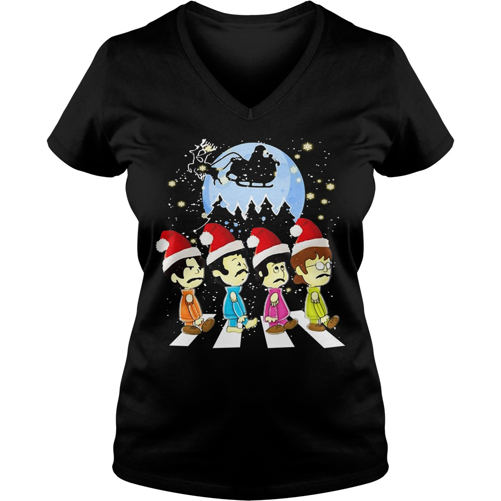 The Beatles crossing street Christmas V-neck T-shirt