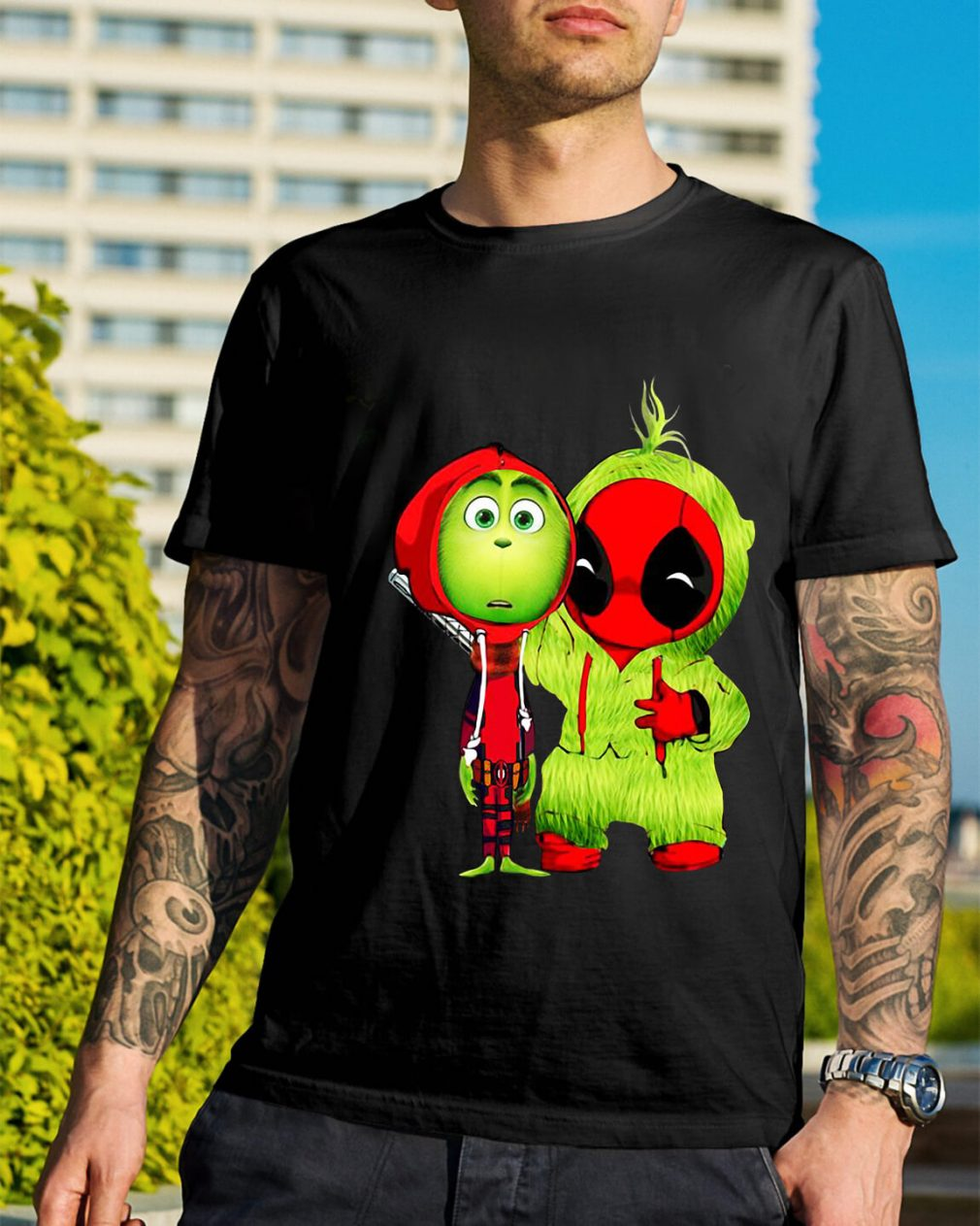 The Grinch and Deadpool baby Christmas Guys Shirt
