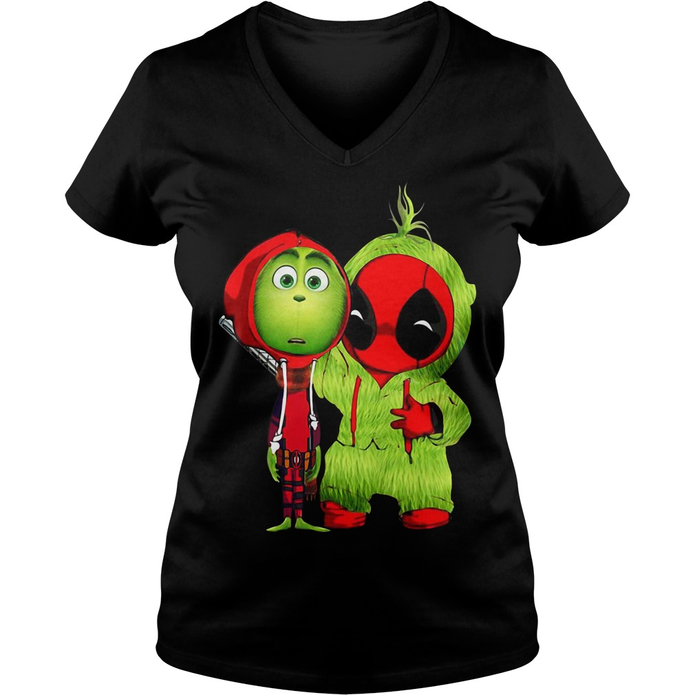 The Grinch and Deadpool baby Christmas V-neck T-shirt